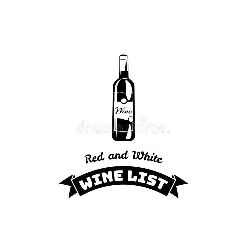 Wino listy butelki menu Karcianego projekta szablon royalty ilustracja