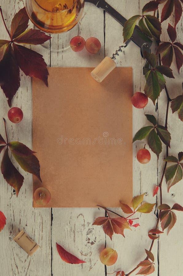Wino listy jedzenia ramy tło zdjęcia stock