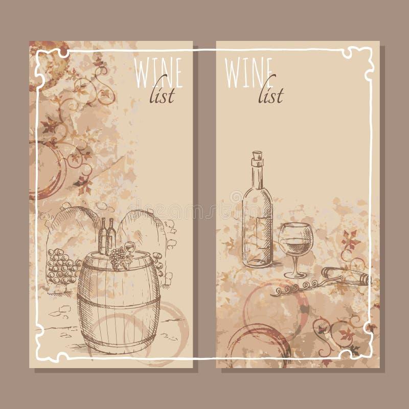 Wino listy karty Menu kart nakreślenie royalty ilustracja