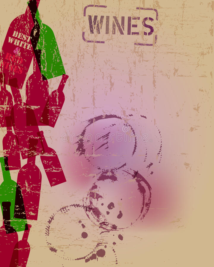 Wino listy menu projekta szablon ilustracji