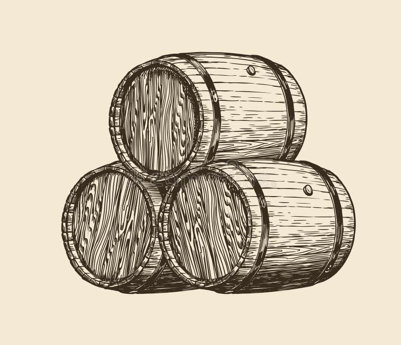 Wino loch, wytwórnia win Drewniane baryłki z winem, nakreślenie Rocznika wektoru ilustracja ilustracji
