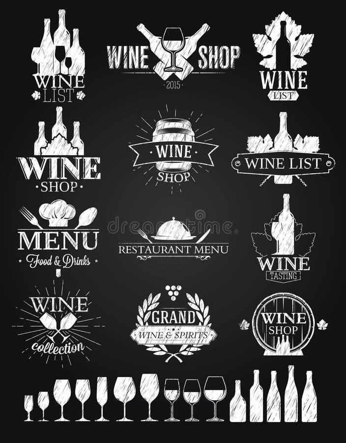 Wino logów i etykietek kredowy rysunek ilustracja wektor