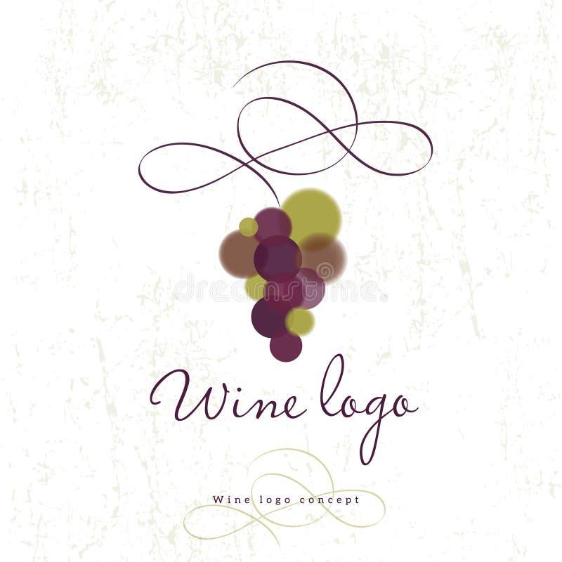 Wino loga pojęcie Wino restauraci lub sklepu logo Winogrona i kędzior royalty ilustracja