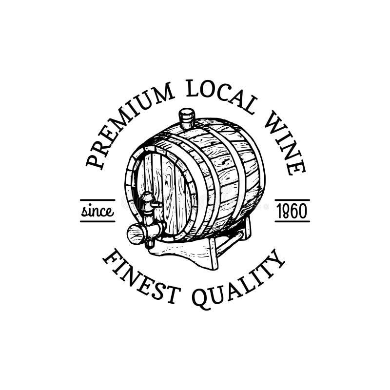 Wino logo Wektorowy wytwórnia win znak z drewnianą baryłką Typograficzna etykietka, odznaka z ręką kreślił baryłkę dla restauraci ilustracji