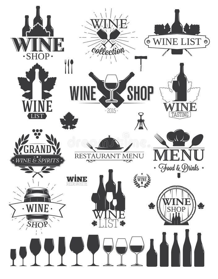 Wino logowie i etykietki royalty ilustracja