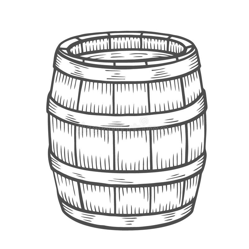 Wino lub piwna baryłka odizolowywający ilustracji