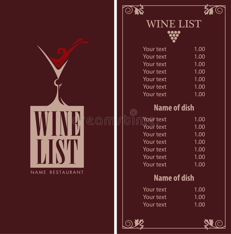 Wino menu ilustracja wektor