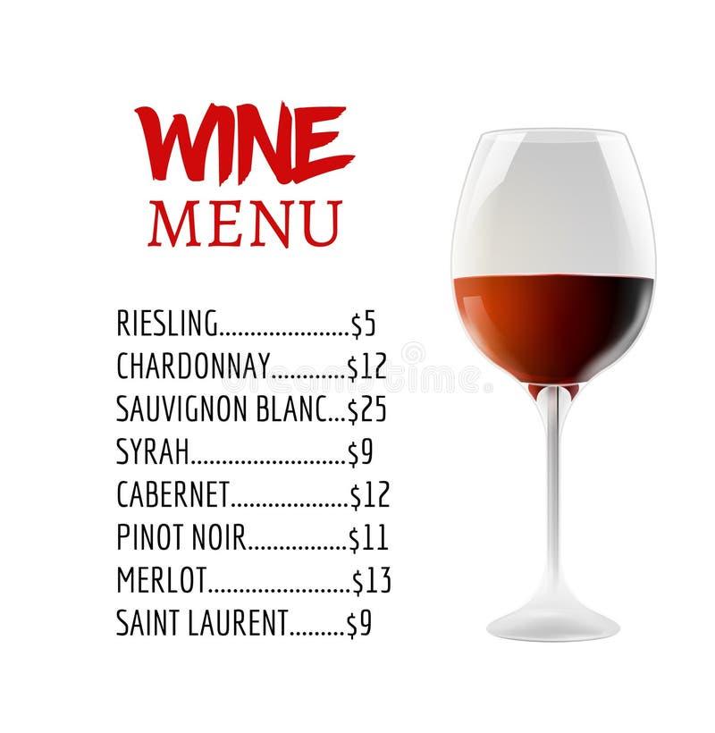 Wino menu karcianego projekta szablon Wino listy szablonu układ ilustracja wektor