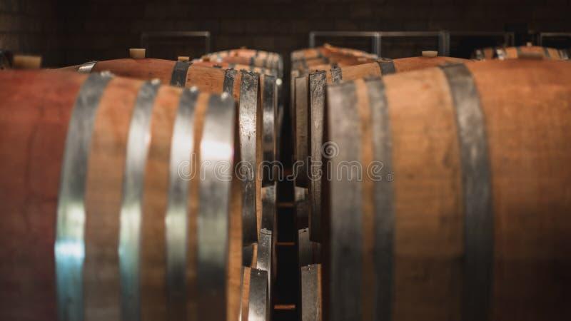Wino moczyć baryłki w lochu obraz royalty free