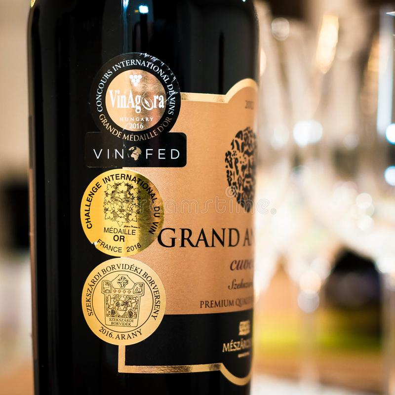 Wino nagród wyzwanie Zawody międzynarodowi Du Vin Złoto fotografia royalty free