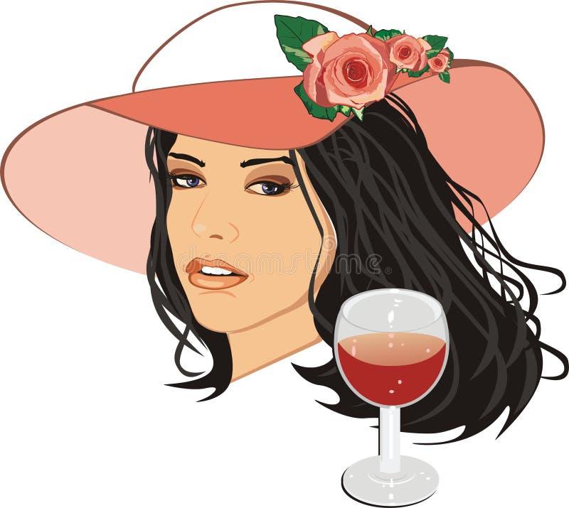 wino piękna szklana kapeluszowa kobieta royalty ilustracja