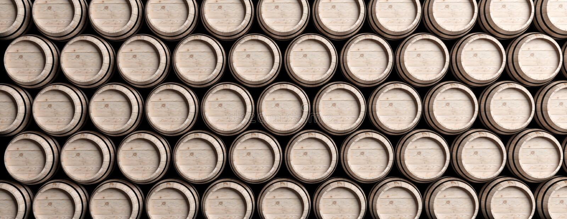 Wino, piwne baryłki brogować, brązu koloru drewniany pełny tło ilustracja 3 d ilustracja wektor