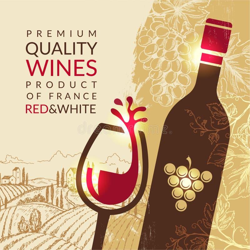 Wino plakat Rocznika plakat z obrazkami winogrona i winnicy krajobrazowym wektorowym obrazkiem dla restauracyjnego bistro menu royalty ilustracja