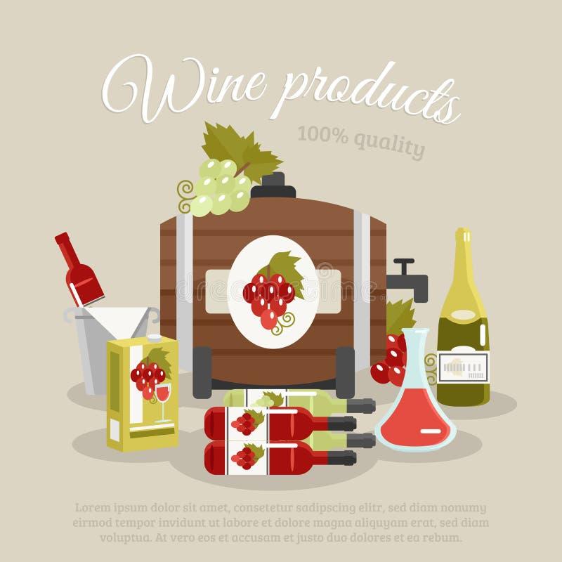Wino produktów życia Wciąż Płaski plakat ilustracji