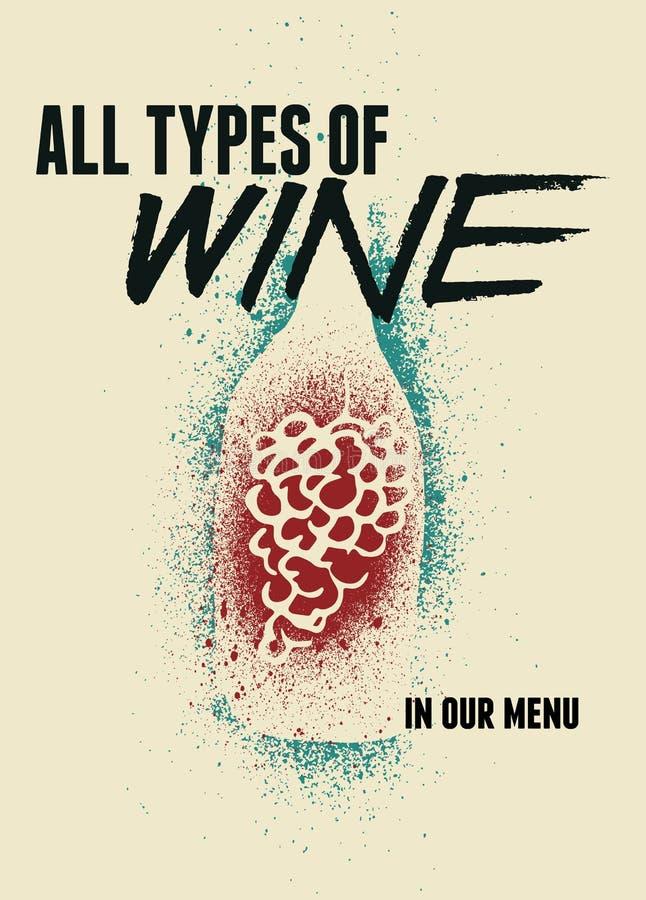 Wino rocznika stylu typographical grunge plakatowy projekt retro ilustracyjny wektora ilustracji