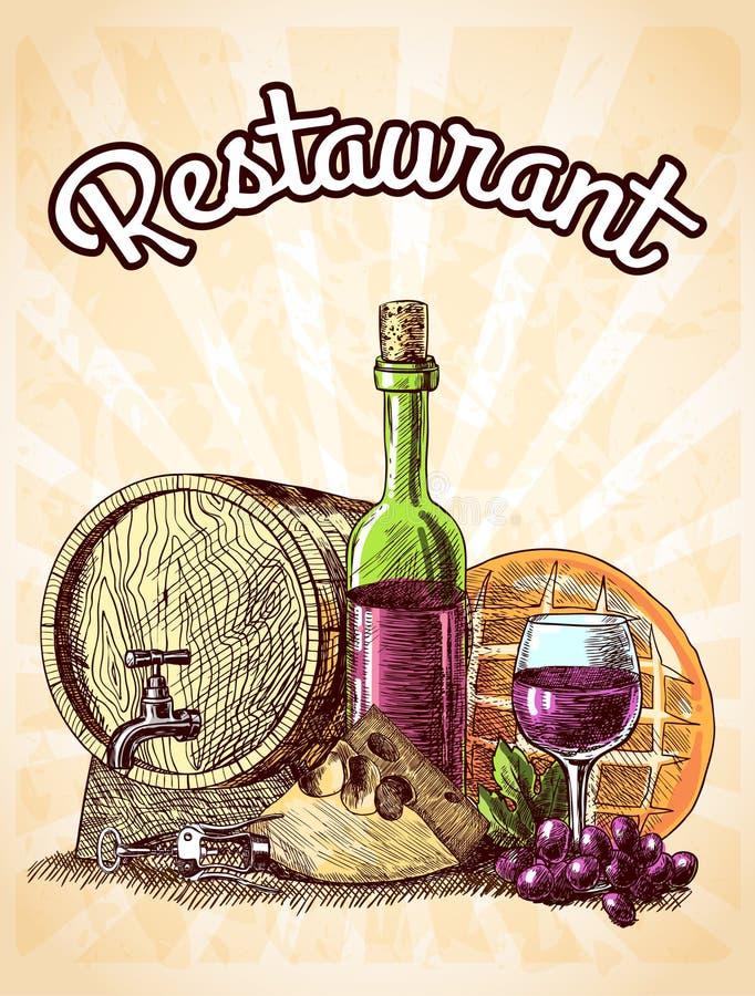 Wino ser i chleba plakat ilustracji