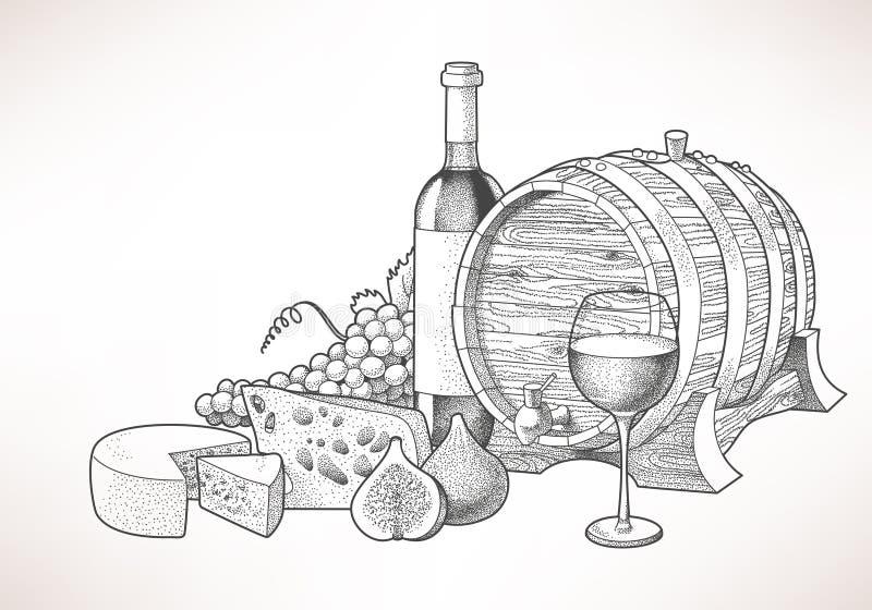 Wino, ser i figi, ilustracja wektor