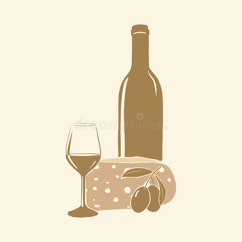 Wino, ser, oliwki i szkło, royalty ilustracja