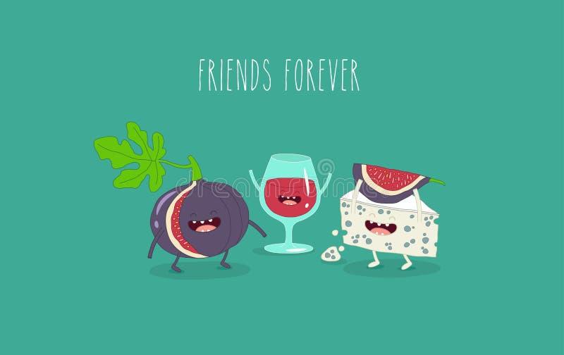 Wino serowy i figa przyjaciele ilustracja wektor