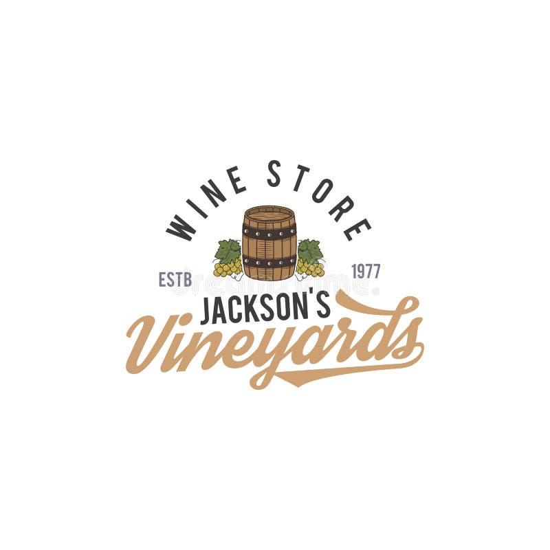 Wino sklepu logo, etykietka Organicznie wina Winnica odznaka Retro napoju symbol - wino baryłka, winogrady Typograficzny projekt ilustracja wektor