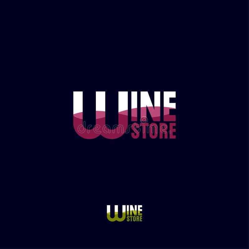 Wino sklepu logo Festiwalu lub wystawy ikona Bielu czerwone wino i listy royalty ilustracja