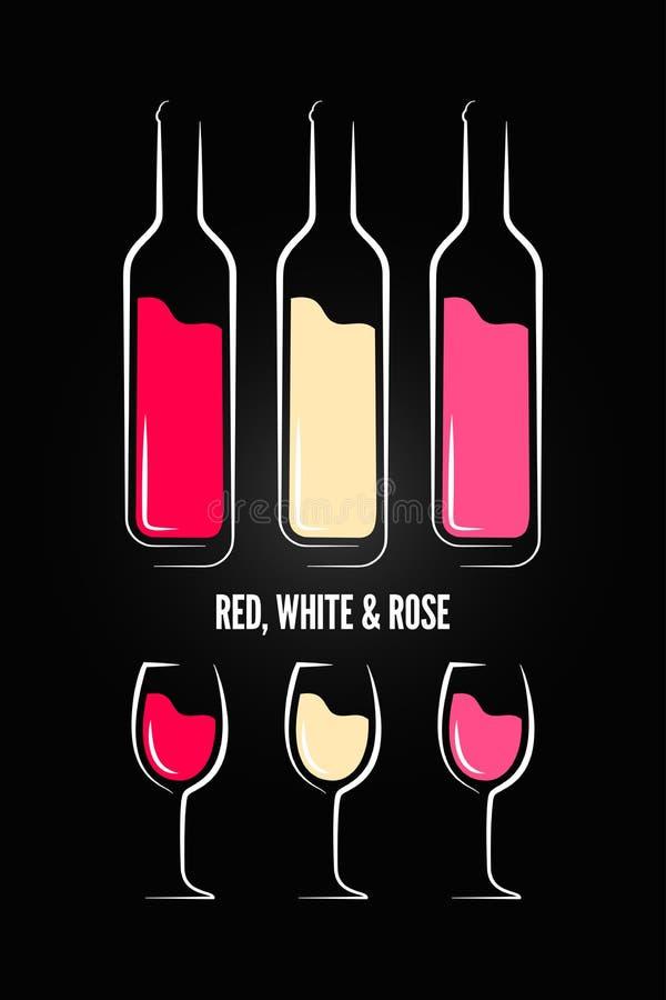 Wino szklanej butelki etykietki projekta tło ilustracji