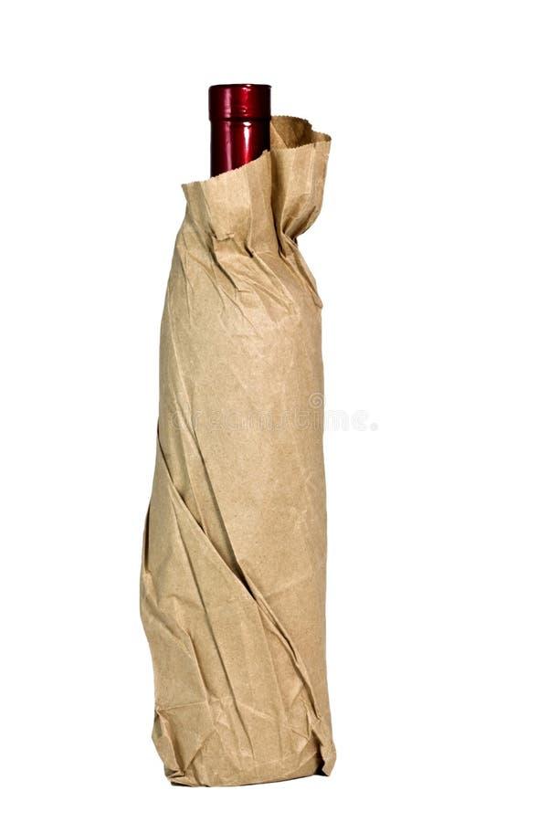 Wino w Papierowej torbie zdjęcie stock