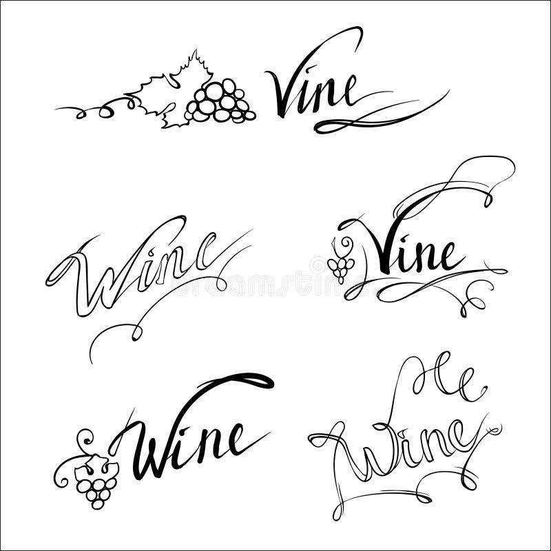 Wino, winograd, literowanie, logowie wektorowi ilustracja wektor