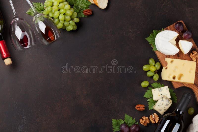 Wino, winogrono i ser, obrazy stock