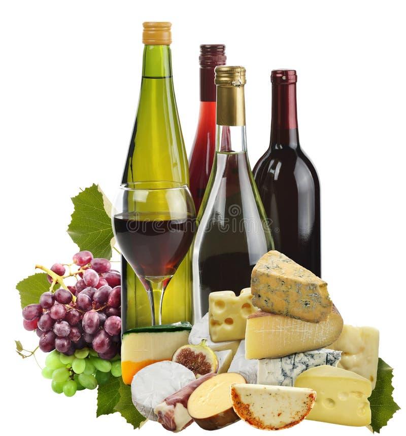 Wino, winogrono I ser, zdjęcia royalty free