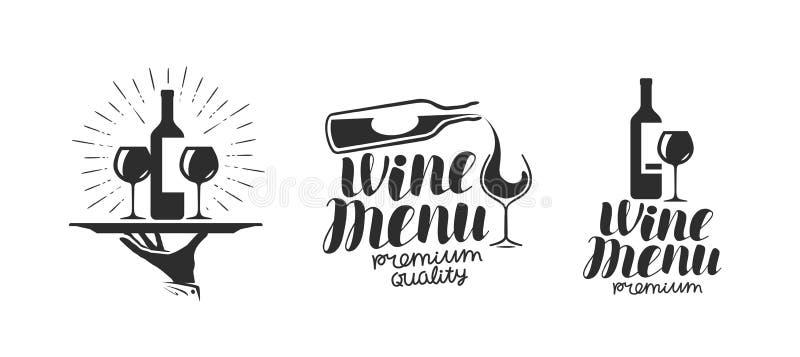 Wino, wytwórnia win logo lub ikona, emblemat Etykietka dla menu projekta kawiarni lub restauraci Literowanie wektoru ilustracja royalty ilustracja