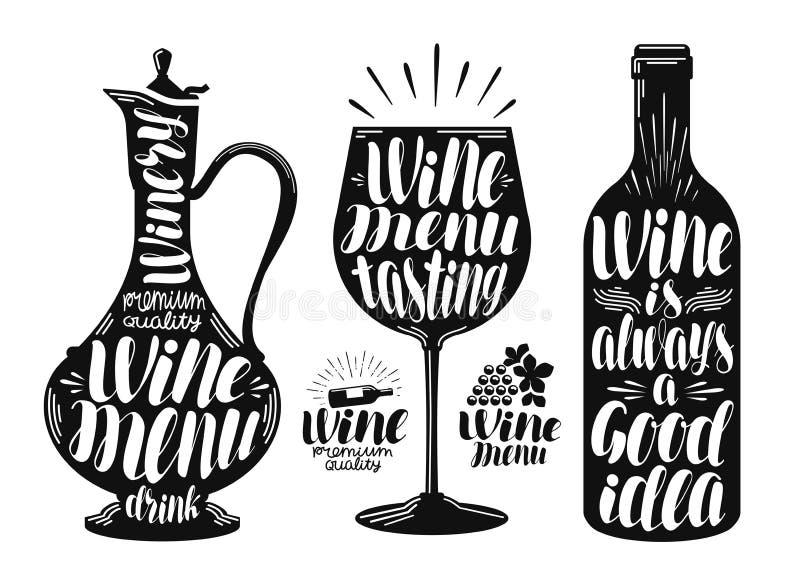 Wino, wytwórnii win etykietki set Dekantator, napój, szkło, butelki ikona lub logo, Ręcznie pisany literowanie wektoru ilustracja royalty ilustracja