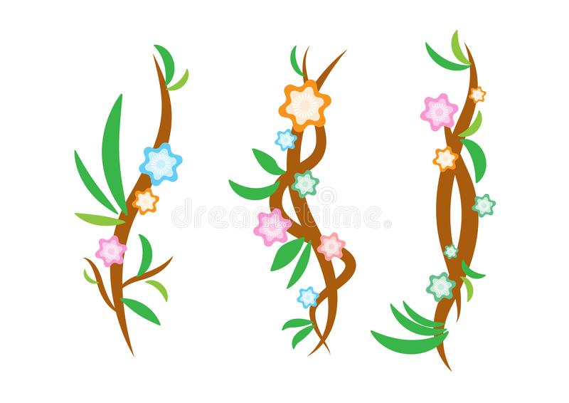 Winogradu projekt z kwiatem i liściem ilustracji
