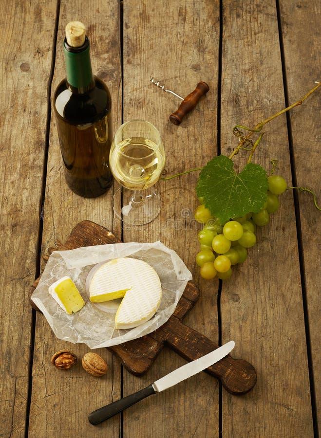 winogron serów białego wina fotografia royalty free