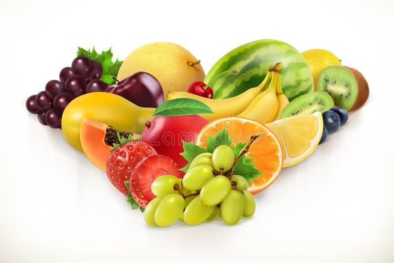 Winogrona i soczyste owoc, wektorowa ilustracja royalty ilustracja