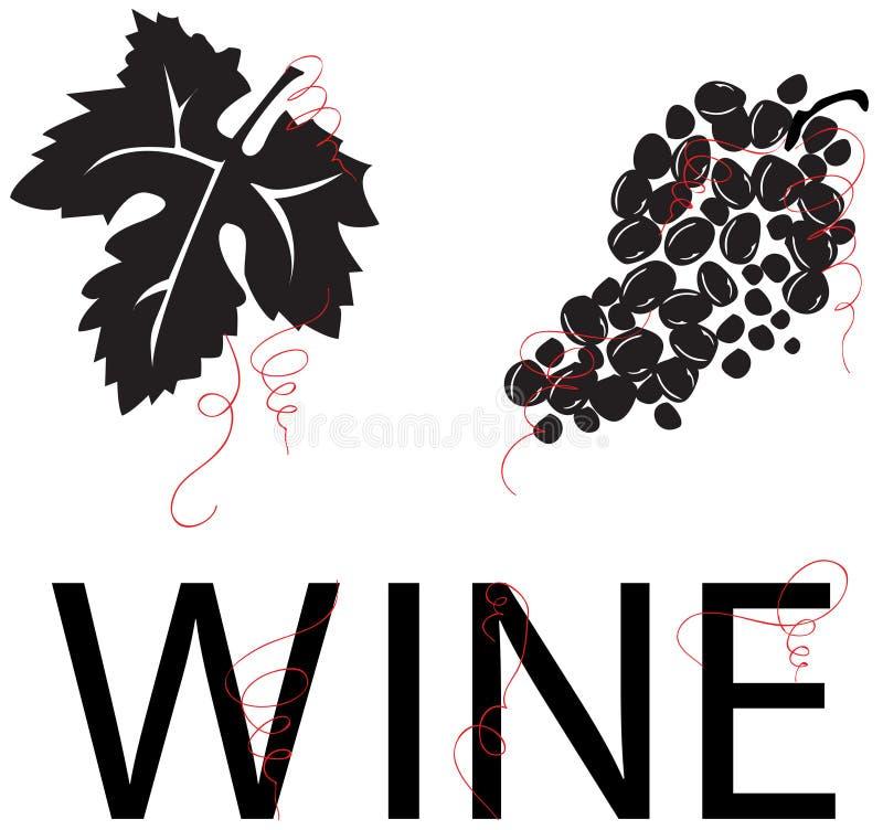 winogrona winogronowy liści winorośli wina wektor ilustracji