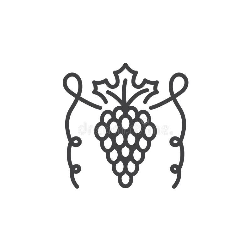Winogrona wykładają ikonę, konturu wektoru znak, liniowy piktogram odizolowywający na bielu ilustracja wektor