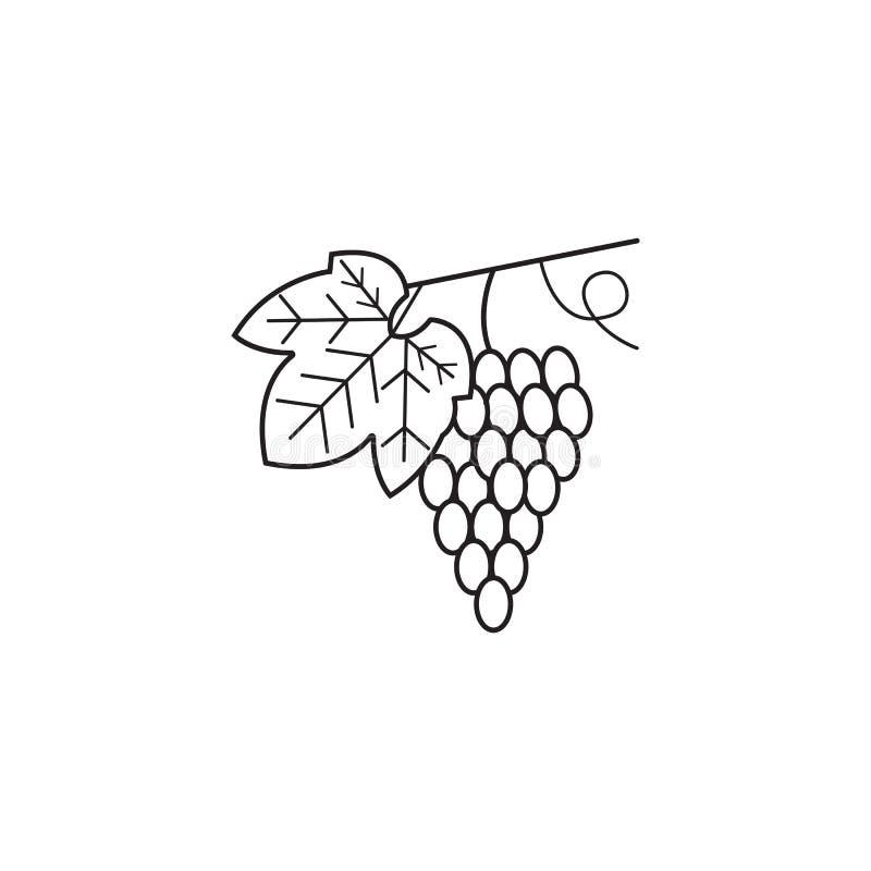 Winogrona wykładają ikonę, zdrowa owoc, wektorowe grafika, royalty ilustracja