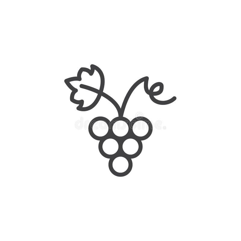 Winogrona z gronową liścia konturu ikoną royalty ilustracja