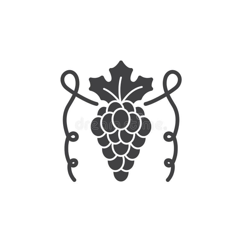 Winogrono ikony wektor, wypełniający mieszkanie znak, stały piktogram odizolowywający na bielu ilustracji