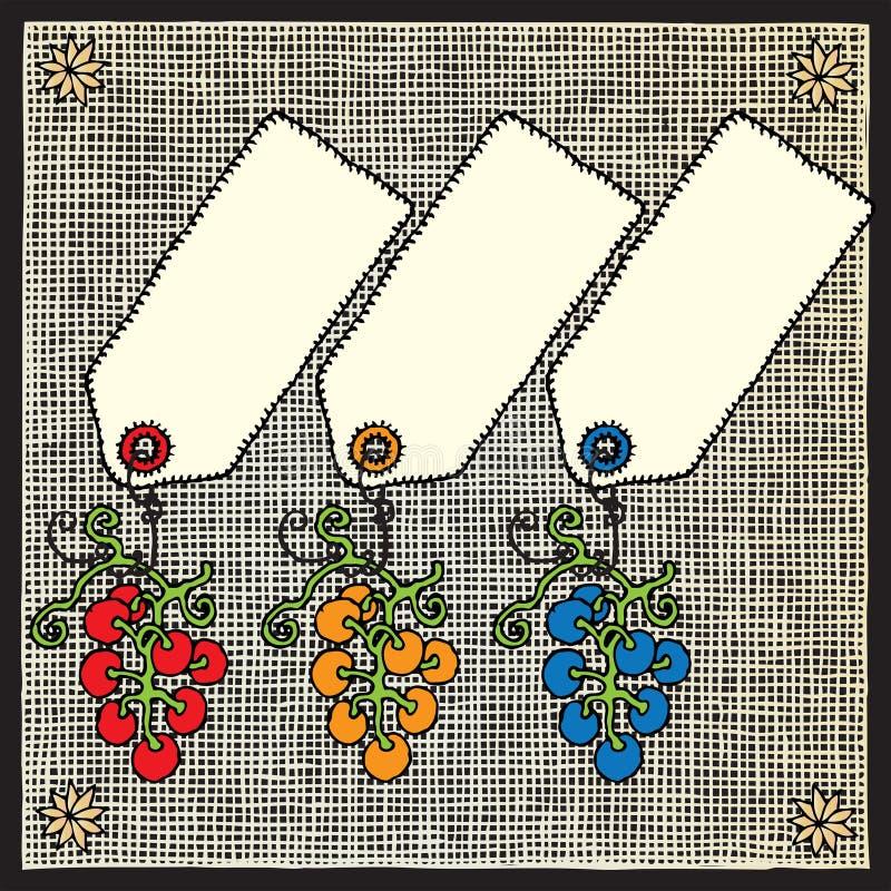 winogrono przylepiać etykietkę woodcut ilustracji