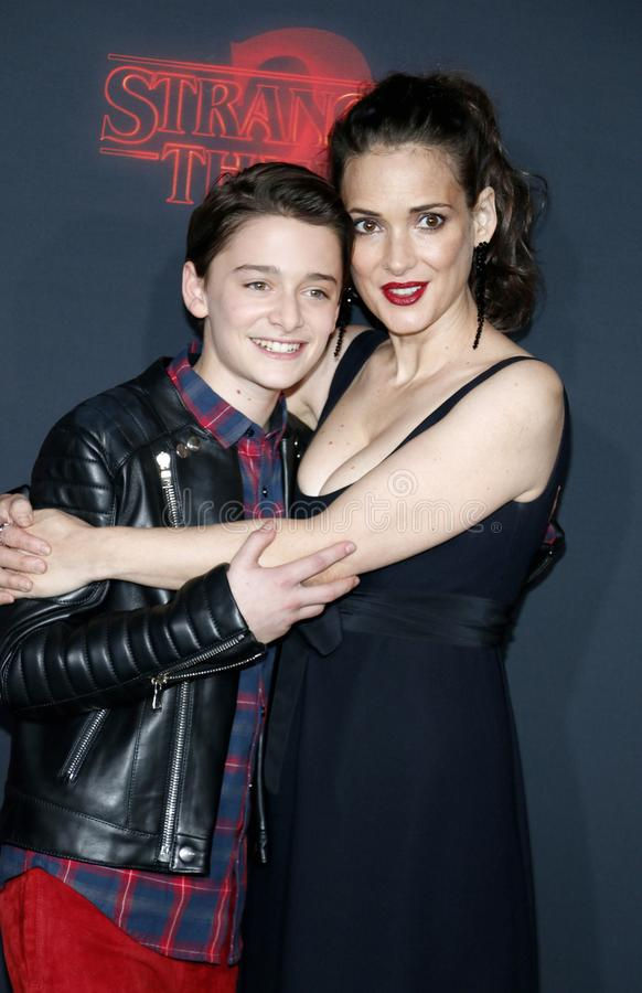 Winona Ryder and Noah Schnapp. At the Netflix`s season 2 premiere of `Stranger Things` held at the Regency Village Theatre in Westwood, USA on October 26, 2017 stock image