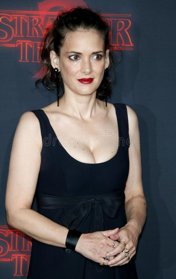 Winona Ryder. At the Netflix`s season 2 premiere of `Stranger Things` held at the Regency Village Theatre in Westwood, USA on October 26, 2017 stock images