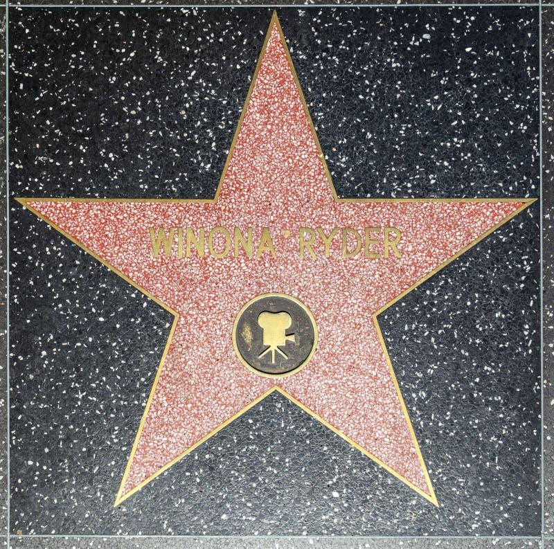 Winona Ryders-ster op Hollywood-Gang van Bekendheid royalty-vrije stock afbeelding