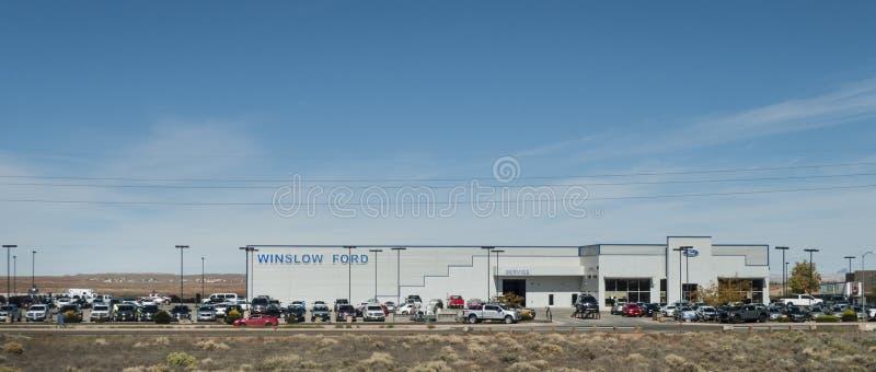 Winslow Ford återförsäljare i Winslow, AZ arkivbild