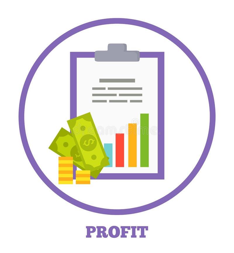 Winst Logotype met Statistisch Grafiek en Geld stock illustratie