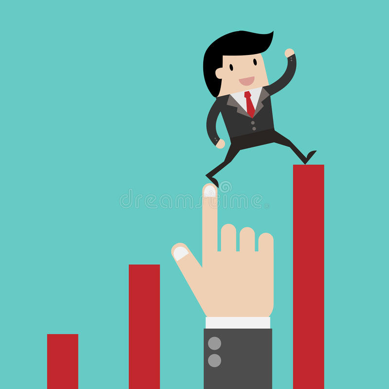 Winstconcept, het groeien bedrijfsgrafiek De zakenman leidt financiële de groeigrafiek Malplaatjeinvestering Vector vlakke illust stock illustratie