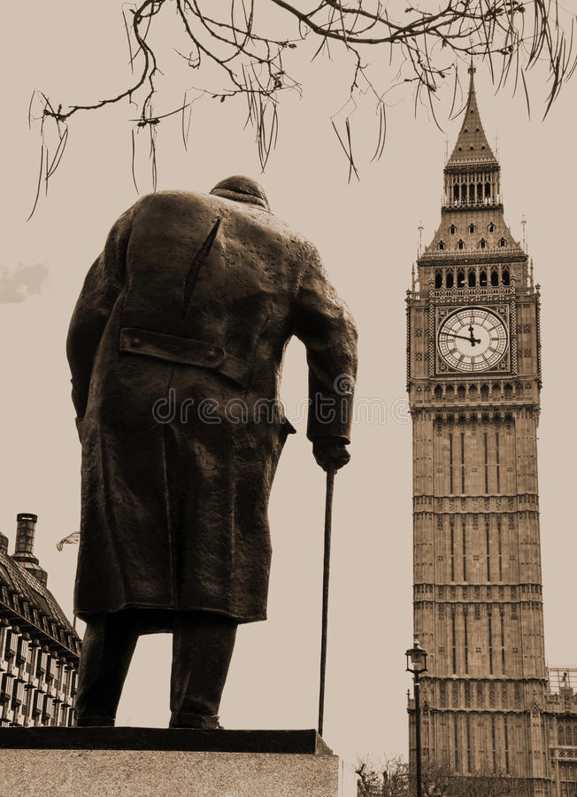 Winston Churchill Statue Westminster London. The iconic statue of Winston Churchill in Westminster opposite the famous house of commons stock photography