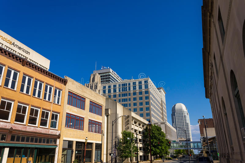 Winston-Salem Downtown from Liberty Street. A view of downtown Winston-Salem, North Carolina, USA from Liberty Street stock photos