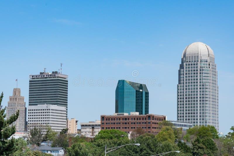 Winston-Salem North Carolina Skyline arkivbild